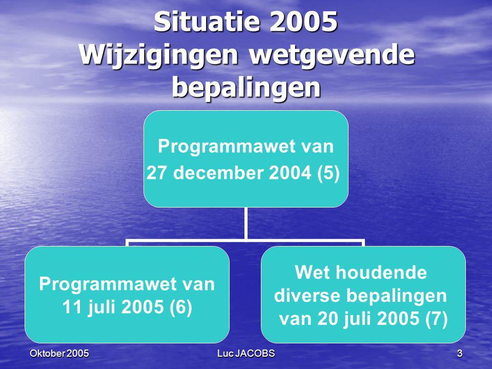 Situatie 2005 Wijzigingen wetgevende bepalingen