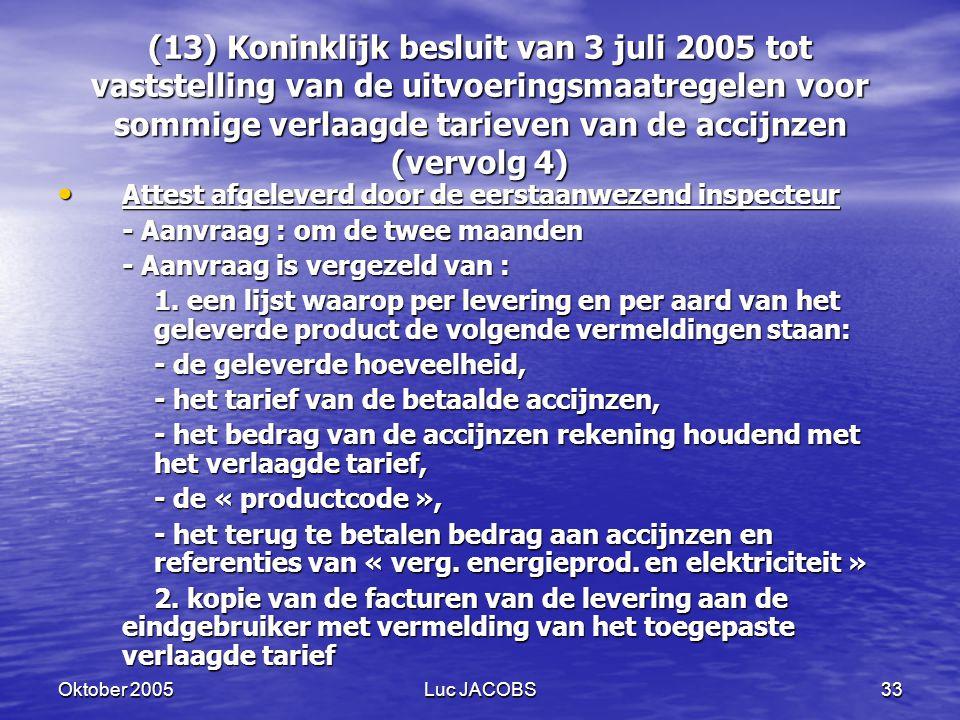(13) Koninklijk besluit van 3 juli 2005 tot vaststelling van de uitvoeringsmaatregelen voor sommige verlaagde tarieven van de accijnzen (vervolg 4)
