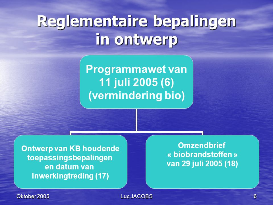 Reglementaire bepalingen in ontwerp
