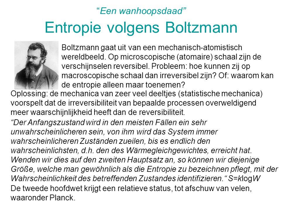 Een wanhoopsdaad Entropie volgens Boltzmann