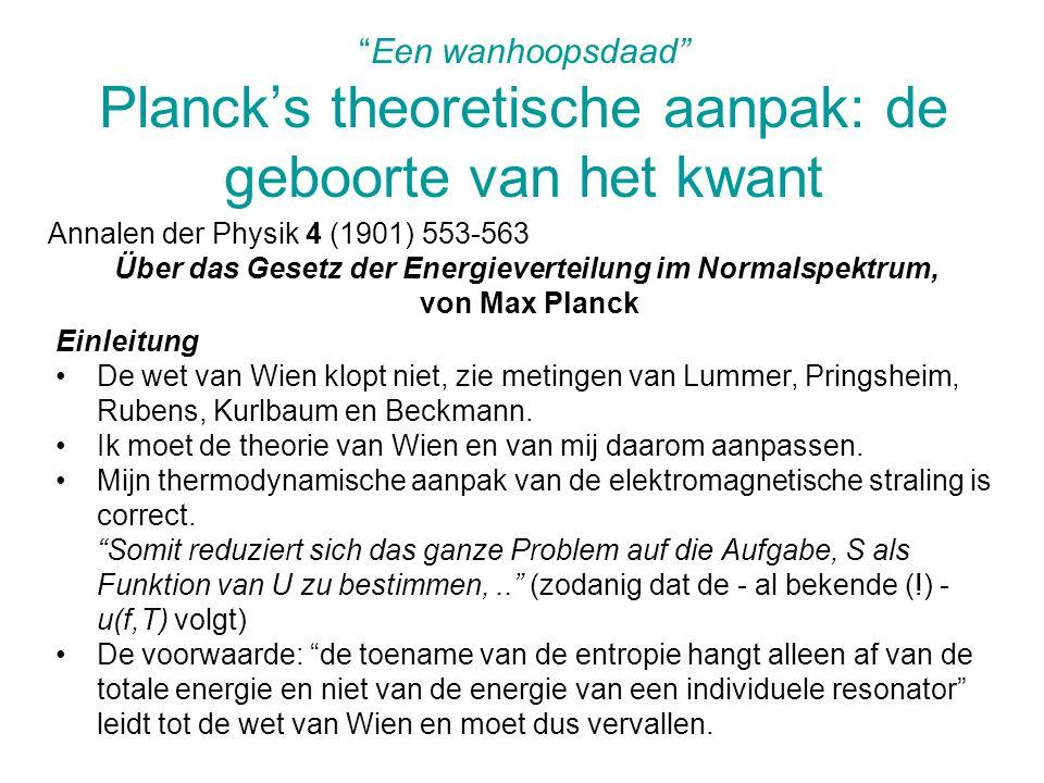 Een wanhoopsdaad Planck's theoretische aanpak: de geboorte van het kwant