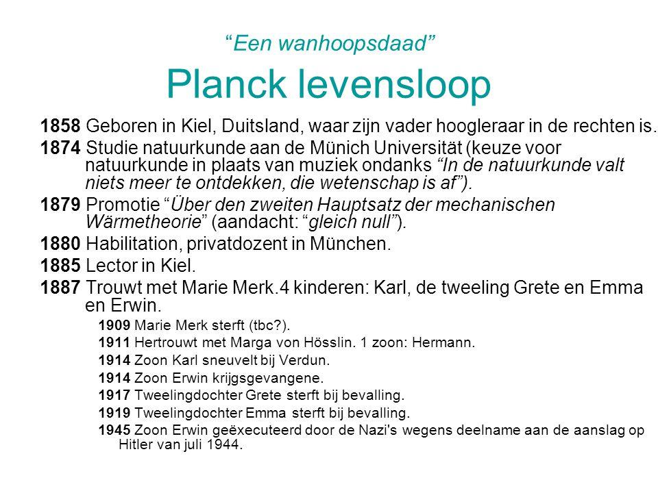 Een wanhoopsdaad Planck levensloop