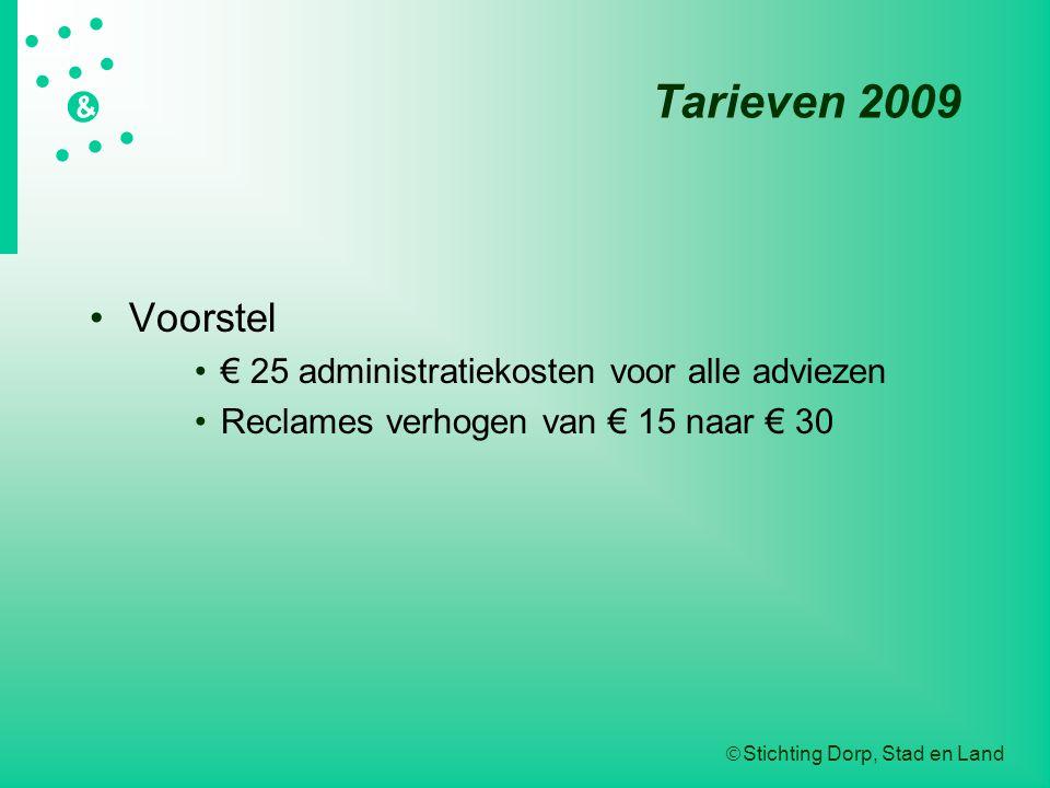 Tarieven 2009 Voorstel € 25 administratiekosten voor alle adviezen