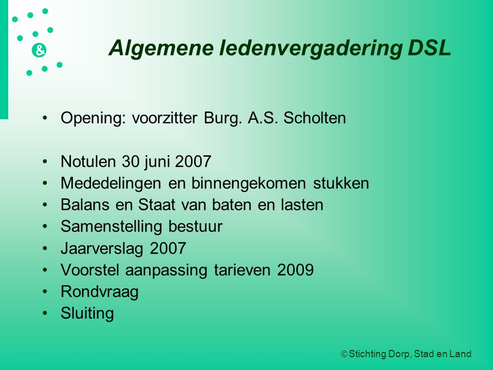 Algemene ledenvergadering DSL