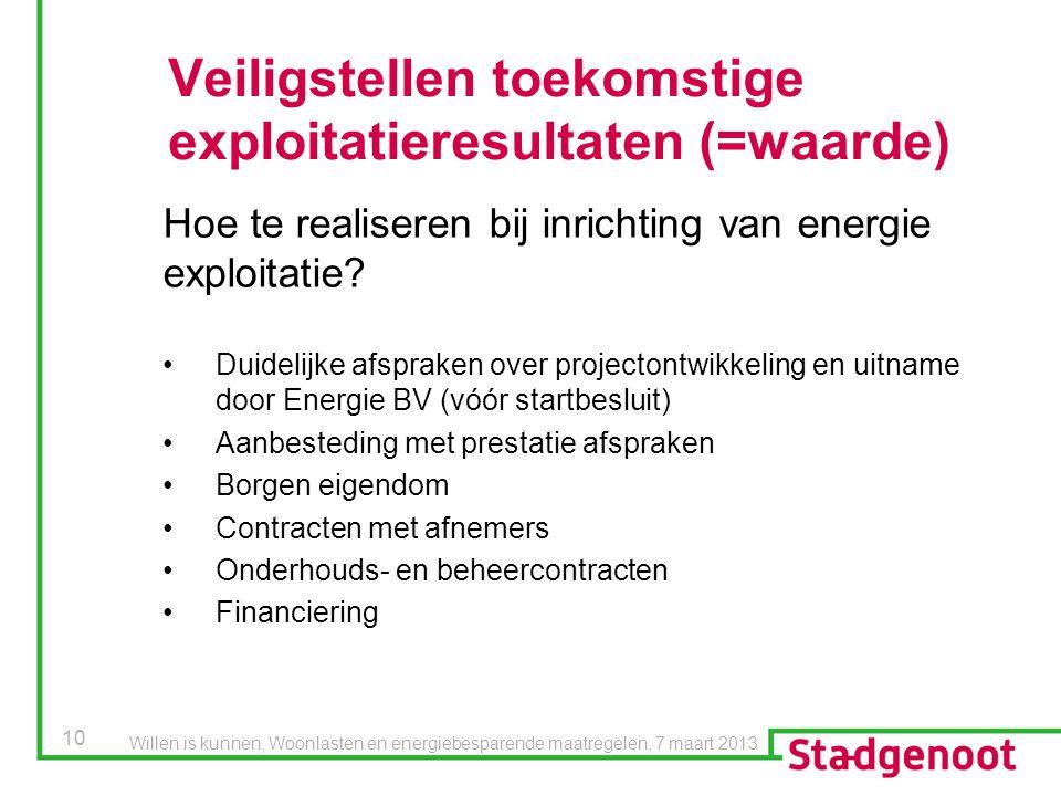 Veiligstellen toekomstige exploitatieresultaten (=waarde)