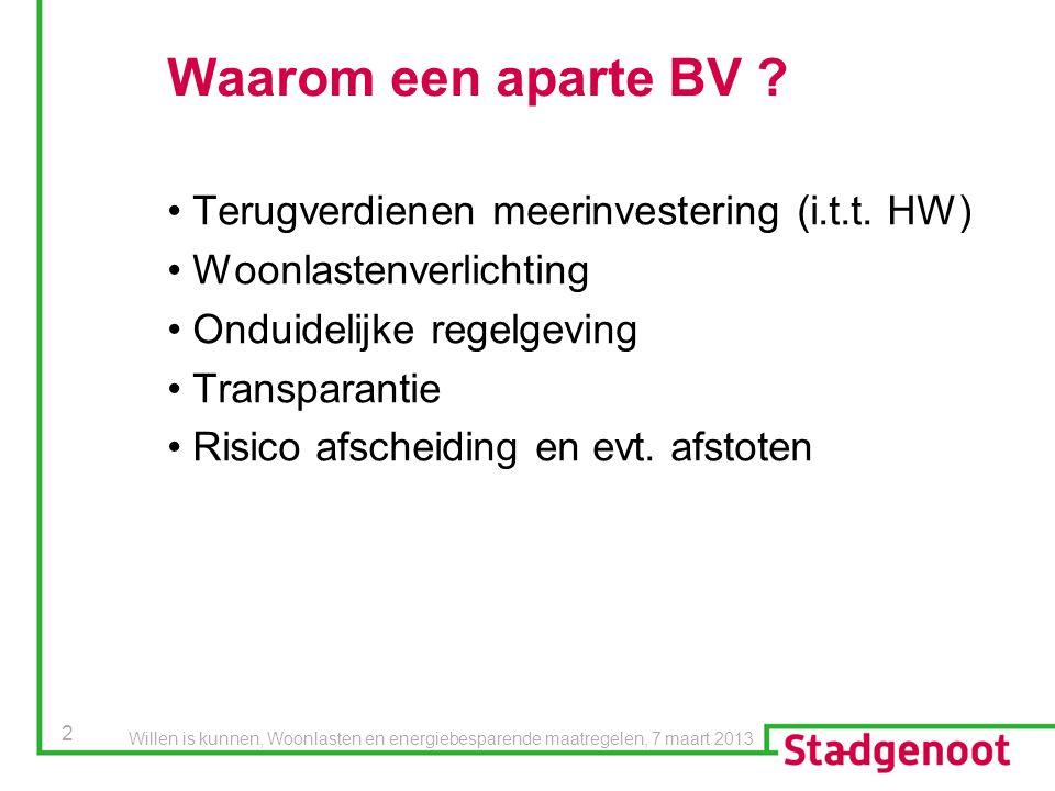 Waarom een aparte BV Terugverdienen meerinvestering (i.t.t. HW)