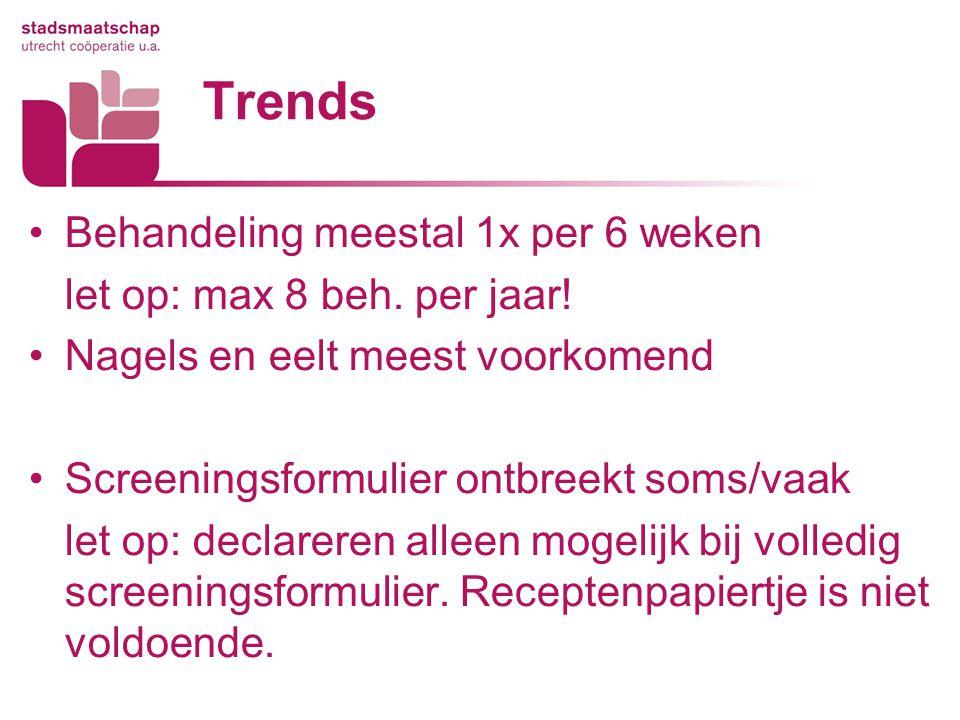 Trends Behandeling meestal 1x per 6 weken let op: max 8 beh. per jaar!