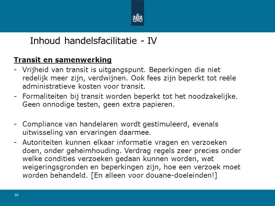Inhoud handelsfacilitatie - IV