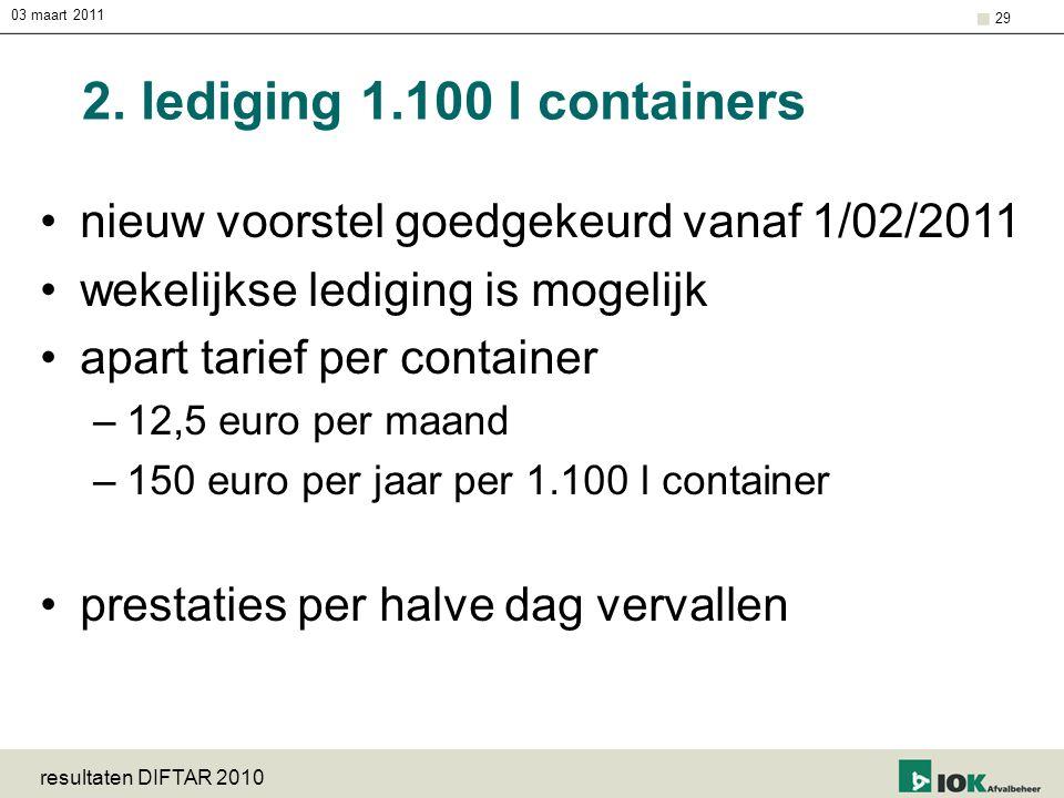 03 maart 2011 2. lediging 1.100 l containers. nieuw voorstel goedgekeurd vanaf 1/02/2011. wekelijkse lediging is mogelijk.