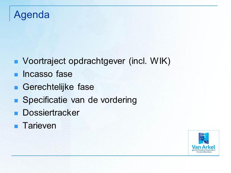Agenda Voortraject opdrachtgever (incl. WIK) Incasso fase