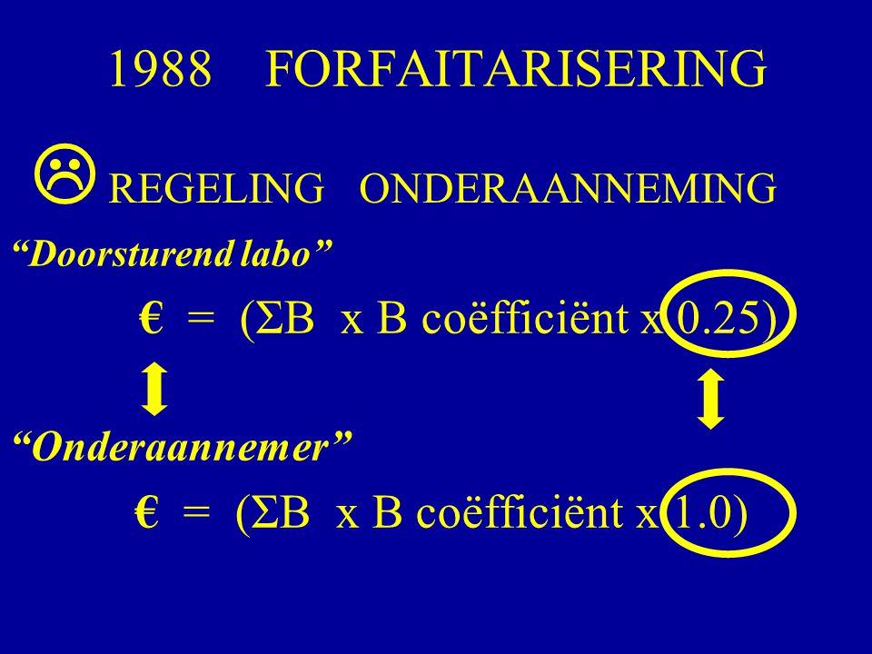  1988 FORFAITARISERING REGELING ONDERAANNEMING