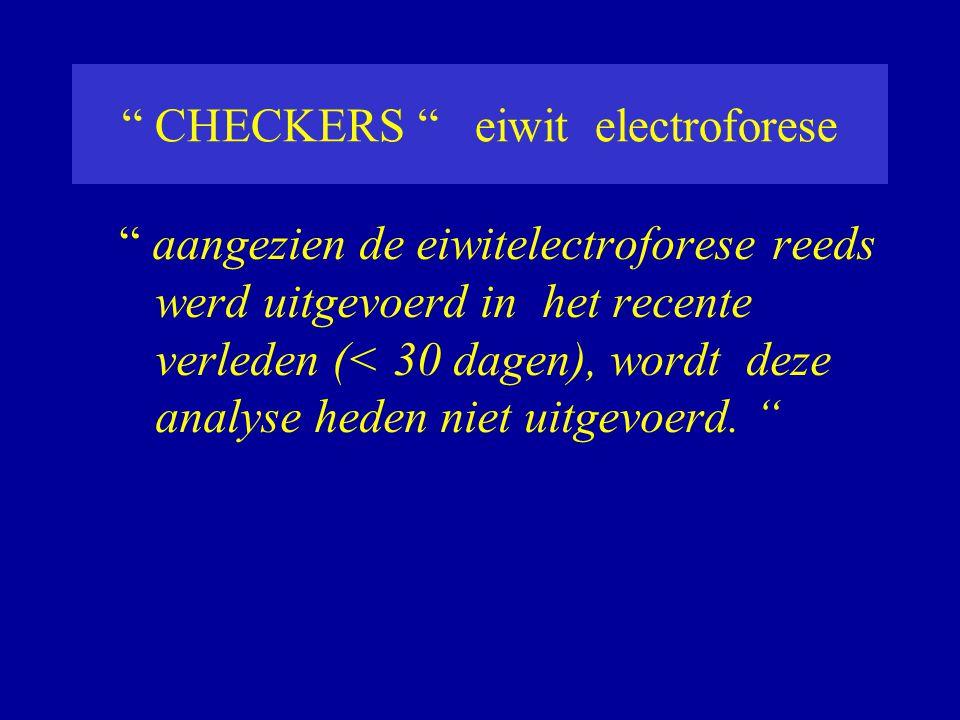 CHECKERS eiwit electroforese