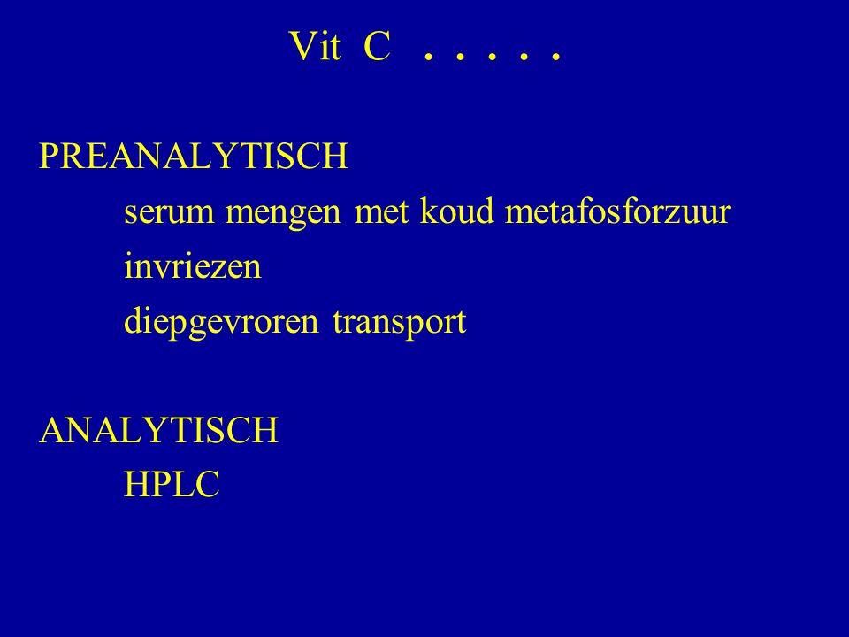 Vit C . . . . . PREANALYTISCH serum mengen met koud metafosforzuur