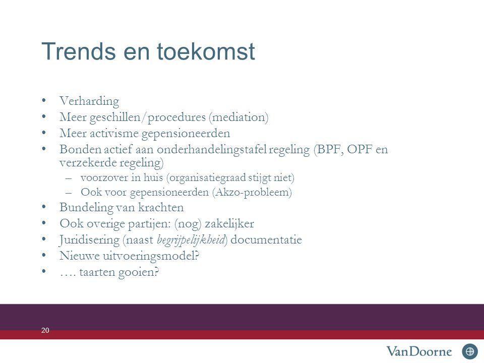 Trends en toekomst Verharding Meer geschillen/procedures (mediation)