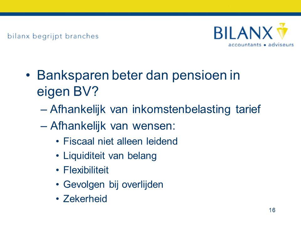 Banksparen beter dan pensioen in eigen BV