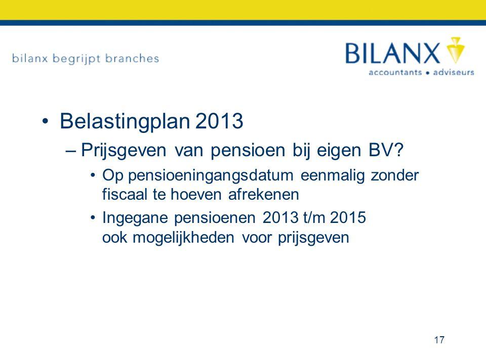 Belastingplan 2013 Prijsgeven van pensioen bij eigen BV