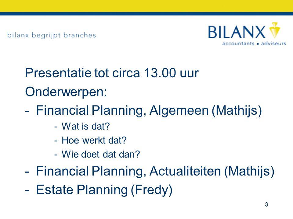 Presentatie tot circa 13.00 uur Onderwerpen: