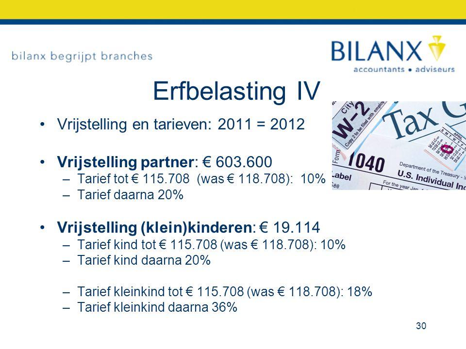 Erfbelasting IV Vrijstelling en tarieven: 2011 = 2012