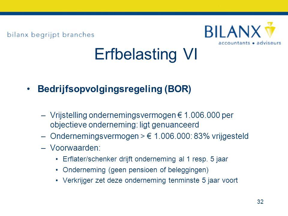 Erfbelasting VI Bedrijfsopvolgingsregeling (BOR)