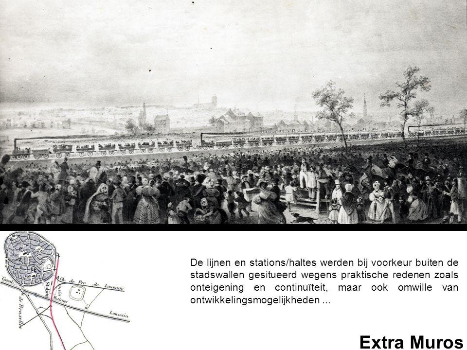 De lijnen en stations/haltes werden bij voorkeur buiten de stadswallen gesitueerd wegens praktische redenen zoals onteigening en continuïteit, maar ook omwille van ontwikkelingsmogelijkheden ...