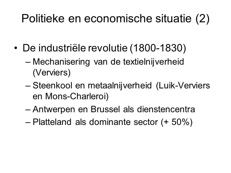 Politieke en economische situatie (2)