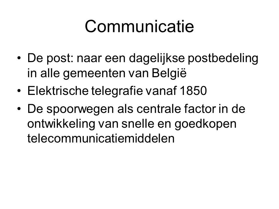 Communicatie De post: naar een dagelijkse postbedeling in alle gemeenten van België. Elektrische telegrafie vanaf 1850.