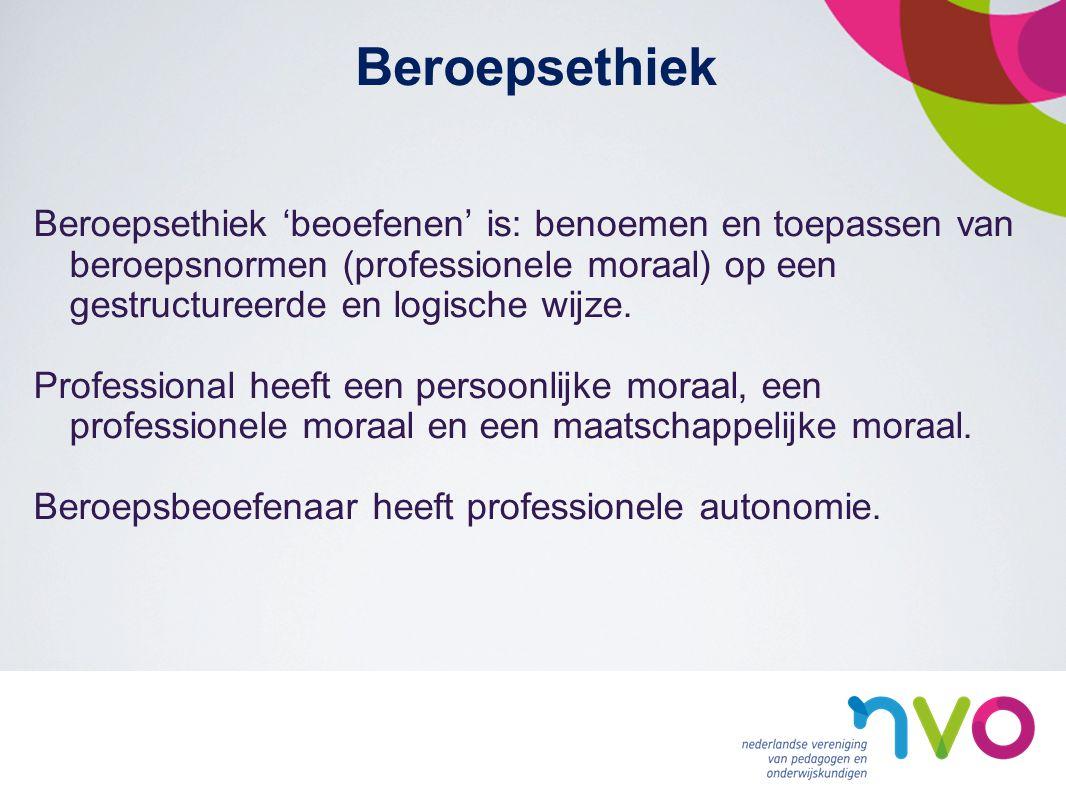Beroepsethiek Beroepsethiek 'beoefenen' is: benoemen en toepassen van beroepsnormen (professionele moraal) op een gestructureerde en logische wijze.