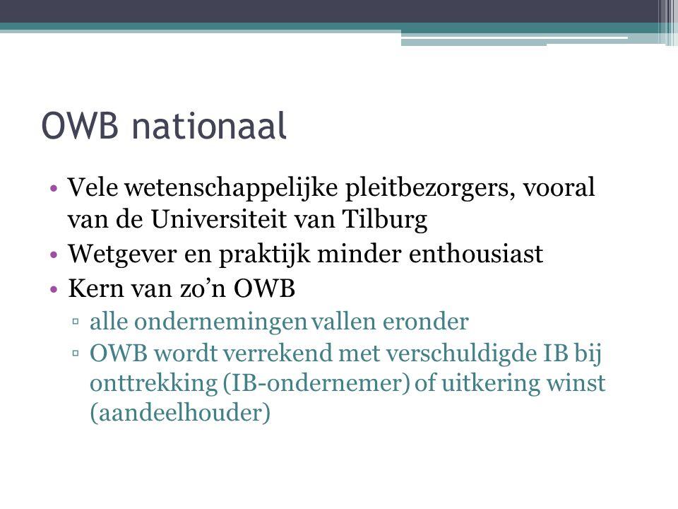 OWB nationaal Vele wetenschappelijke pleitbezorgers, vooral van de Universiteit van Tilburg. Wetgever en praktijk minder enthousiast.