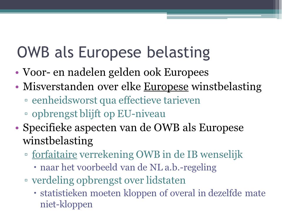 OWB als Europese belasting