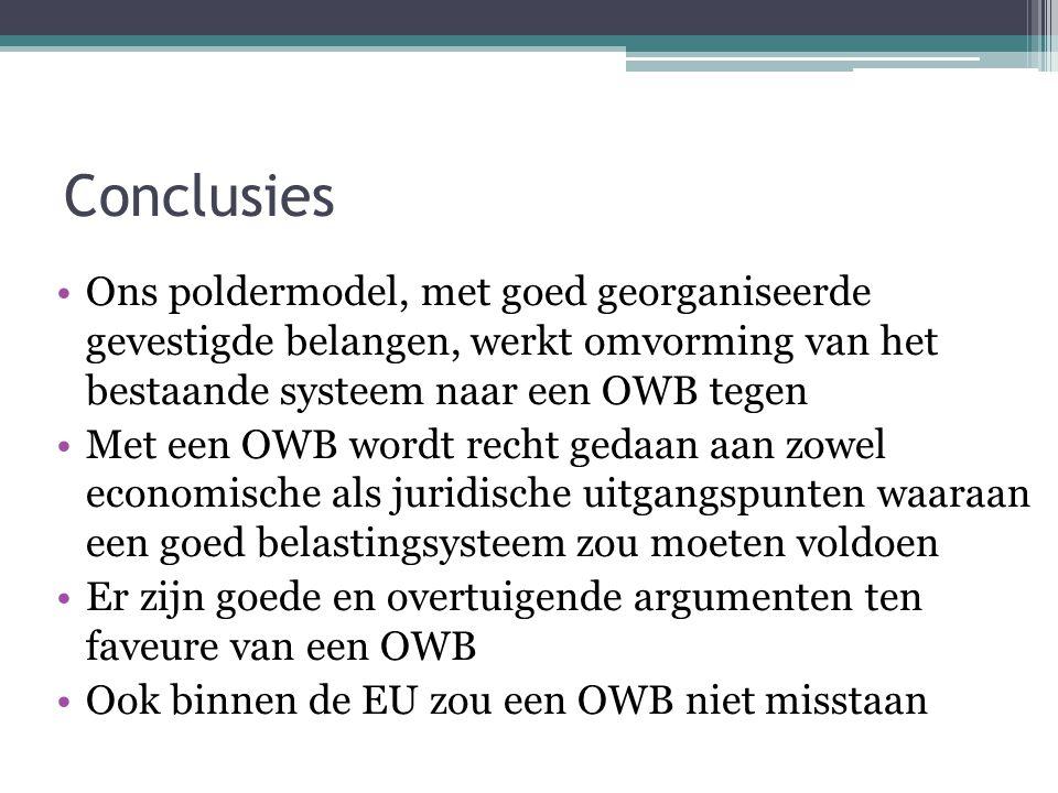 Conclusies Ons poldermodel, met goed georganiseerde gevestigde belangen, werkt omvorming van het bestaande systeem naar een OWB tegen.