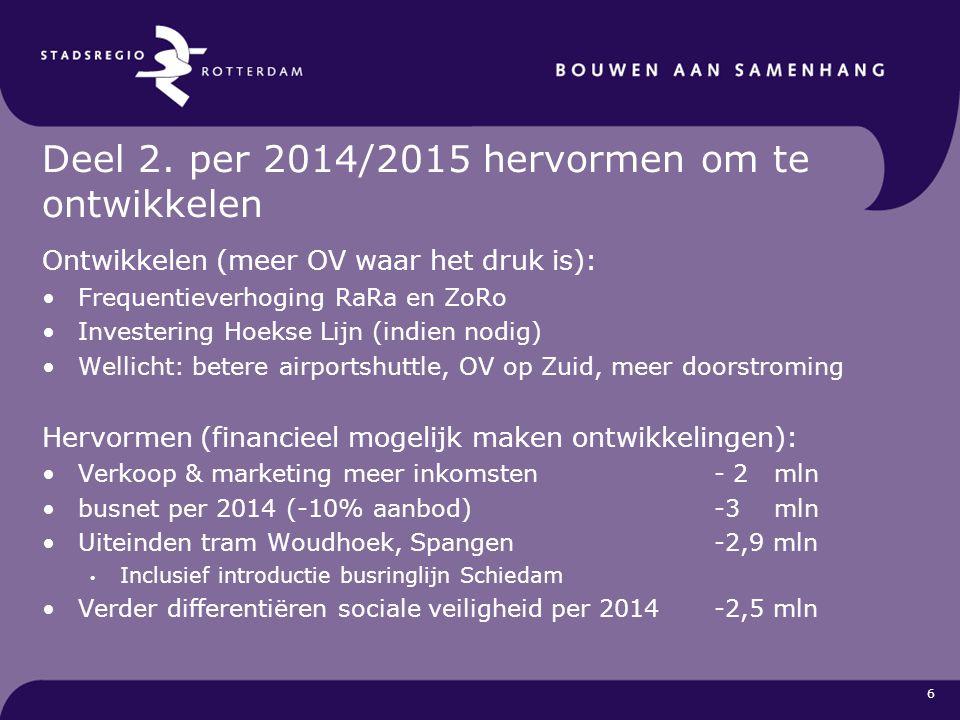 Deel 2. per 2014/2015 hervormen om te ontwikkelen