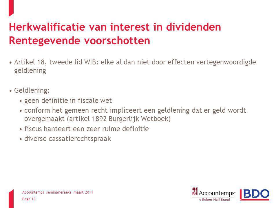 Herkwalificatie van interest in dividenden Rentegevende voorschotten