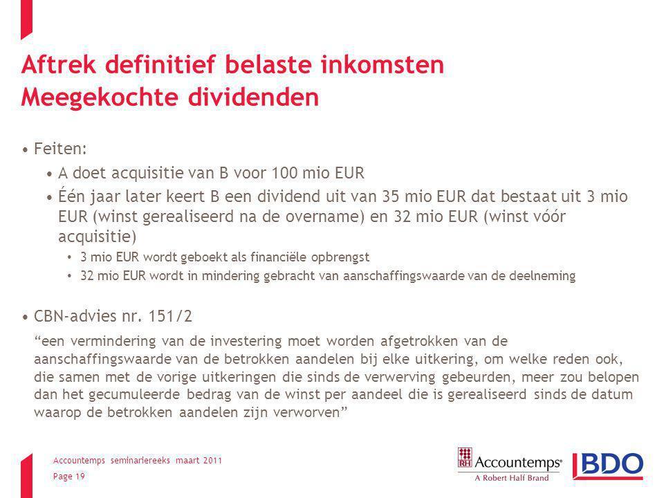 Aftrek definitief belaste inkomsten Meegekochte dividenden