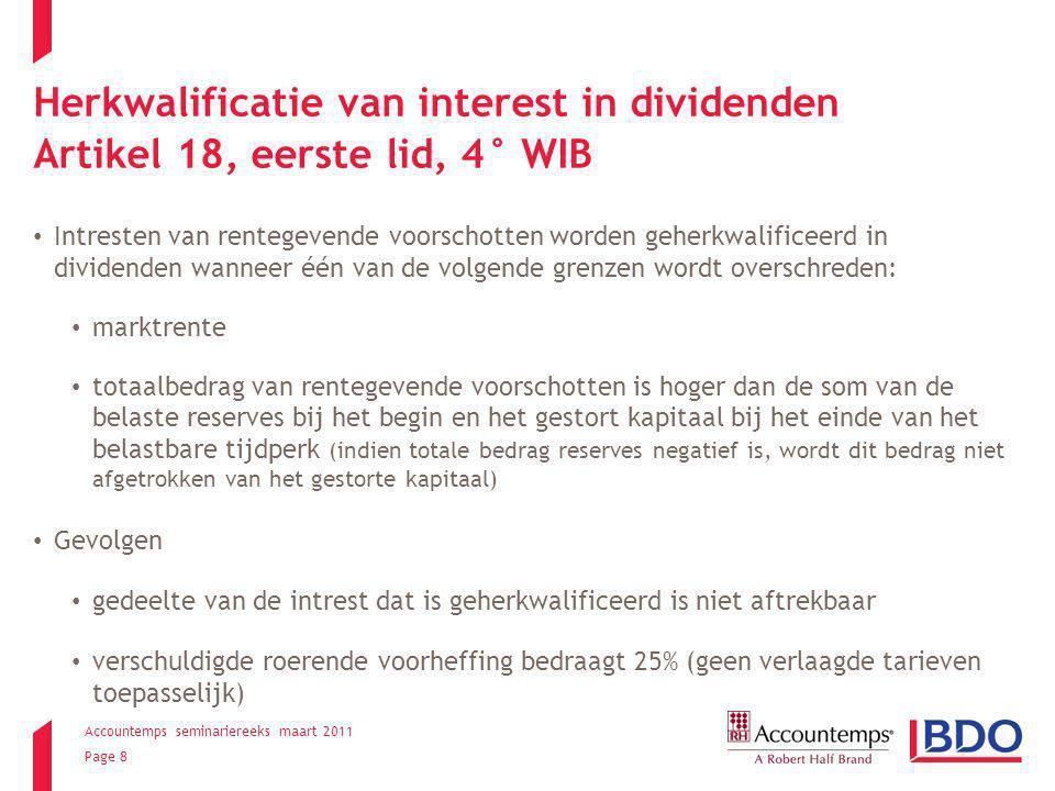 Herkwalificatie van interest in dividenden Artikel 18, eerste lid, 4° WIB
