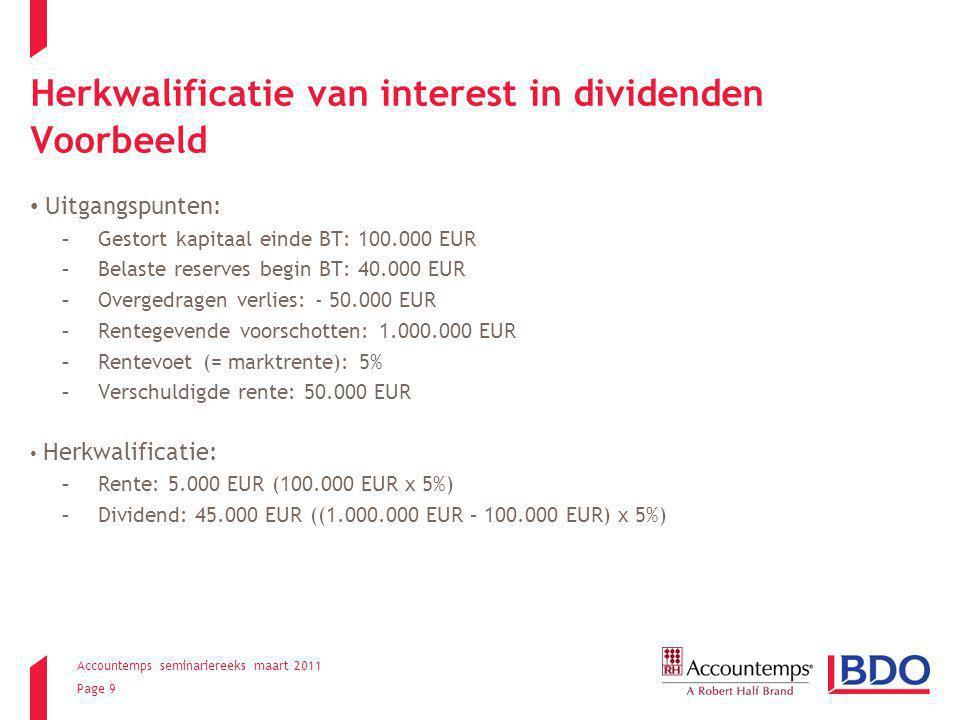 Herkwalificatie van interest in dividenden Voorbeeld