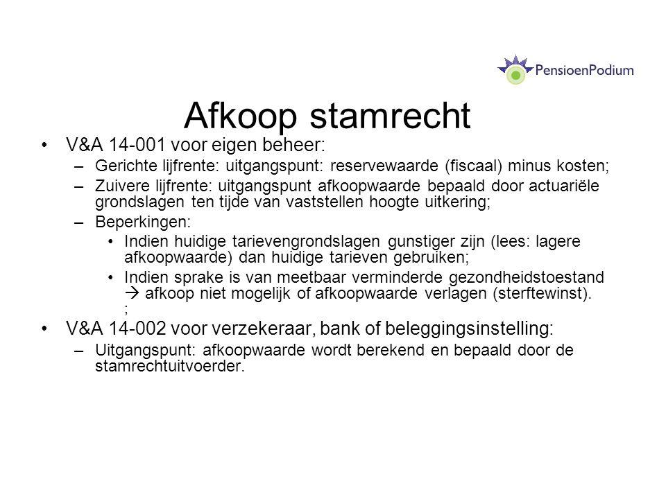Afkoop stamrecht V&A 14-001 voor eigen beheer: