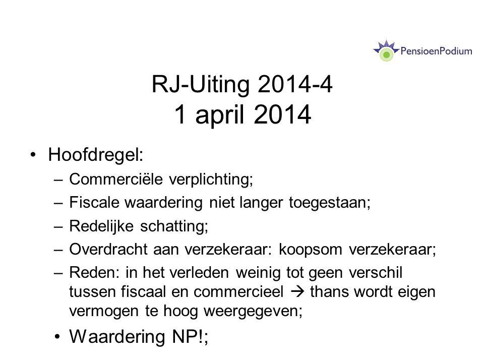 RJ-Uiting 2014-4 1 april 2014 Hoofdregel: Waardering NP!;