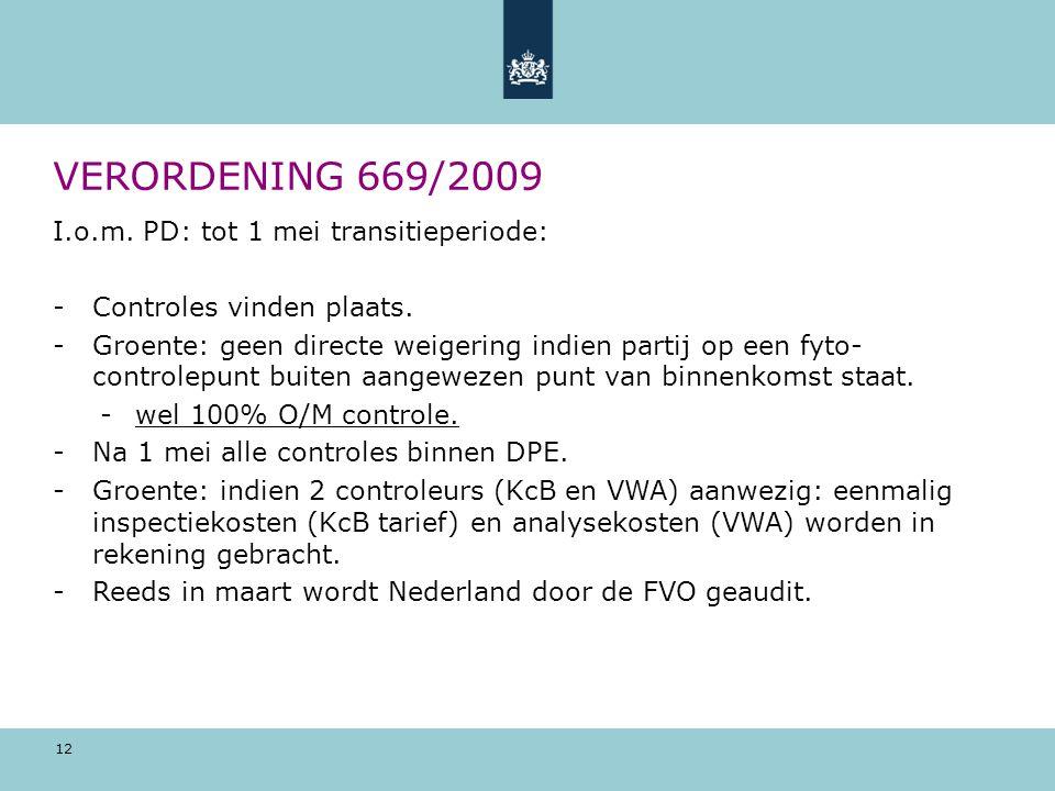 VERORDENING 669/2009 I.o.m. PD: tot 1 mei transitieperiode: