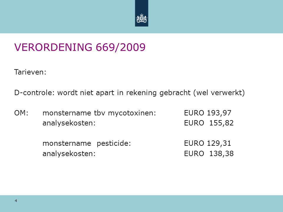 VERORDENING 669/2009 Tarieven: