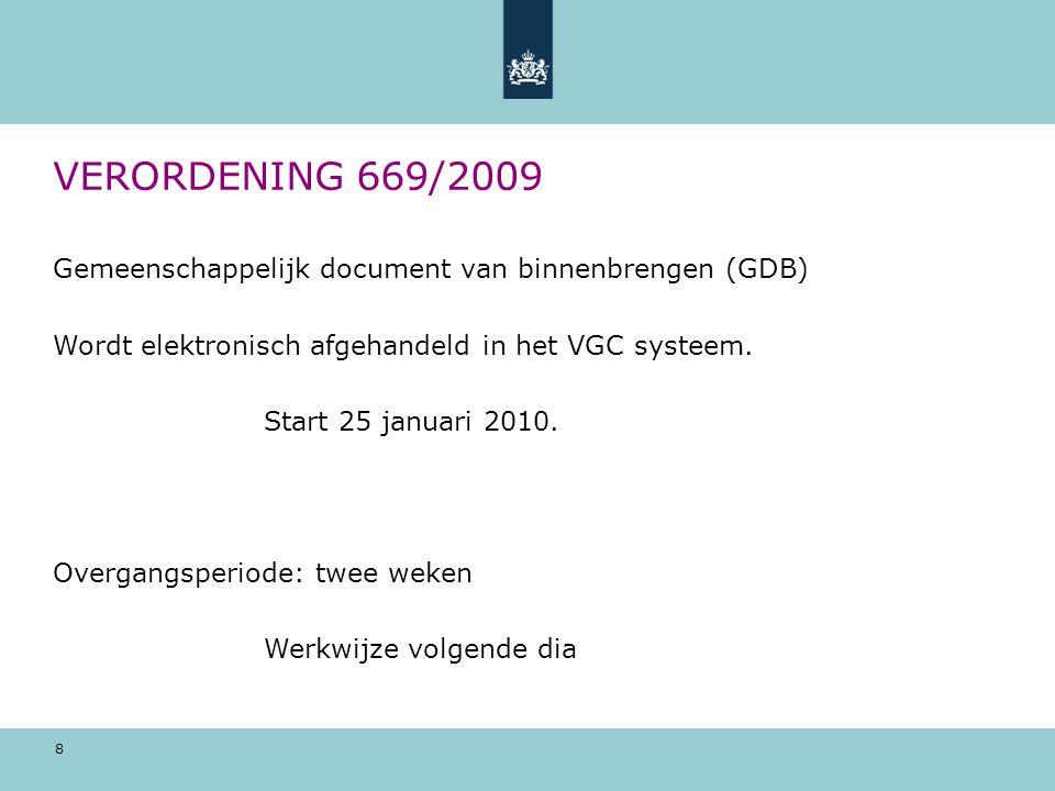 VERORDENING 669/2009 Gemeenschappelijk document van binnenbrengen (GDB) Wordt elektronisch afgehandeld in het VGC systeem.