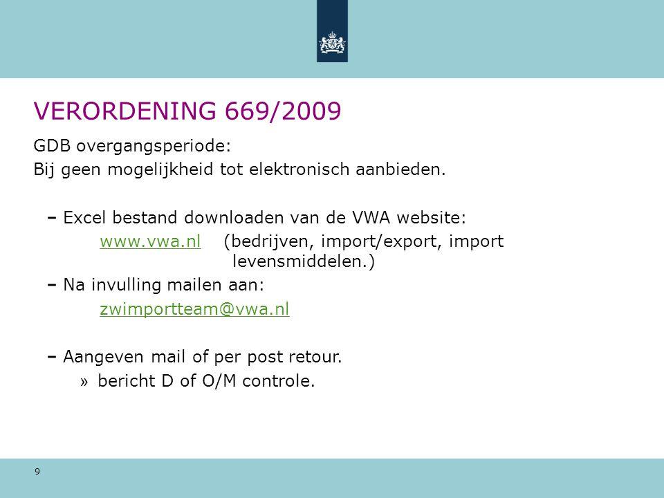 VERORDENING 669/2009 GDB overgangsperiode: