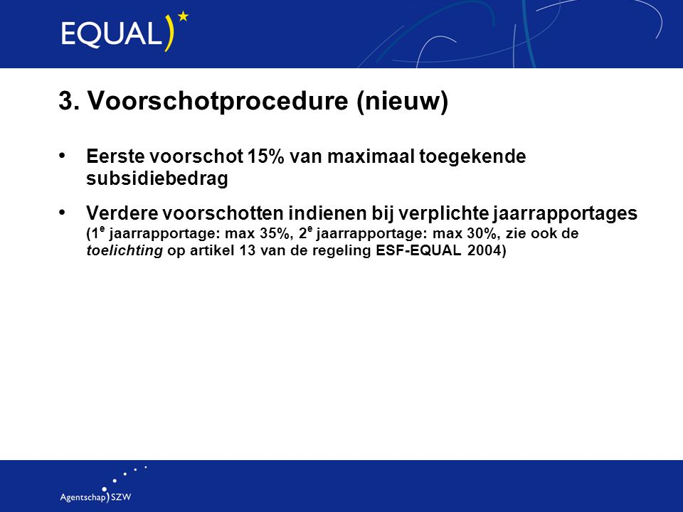 3. Voorschotprocedure (nieuw)