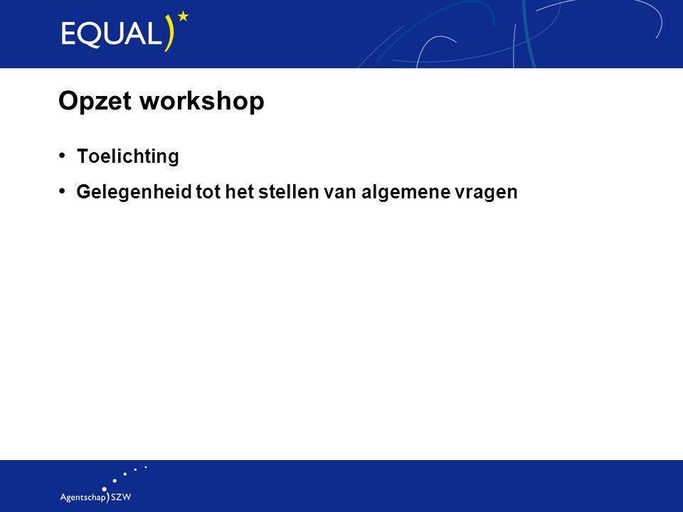 Opzet workshop Toelichting