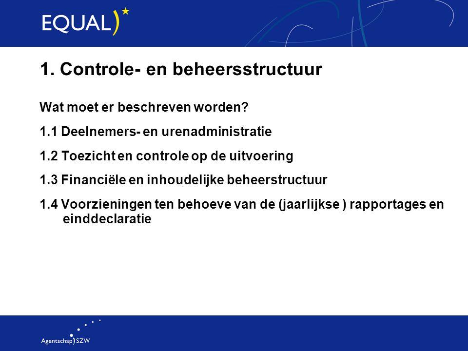 1. Controle- en beheersstructuur