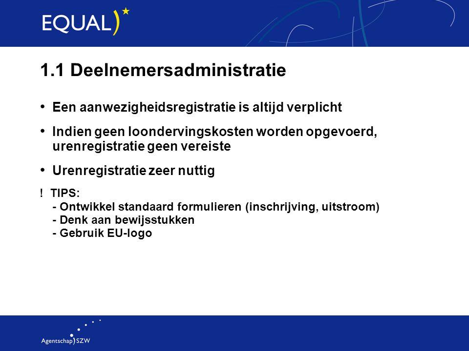 1.1 Deelnemersadministratie