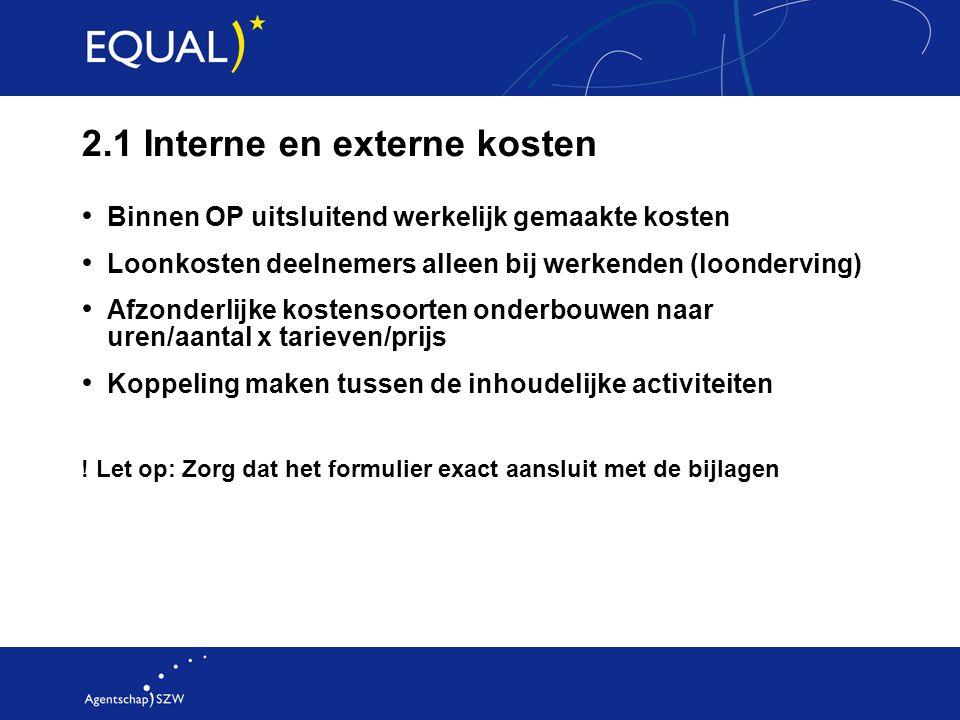 2.1 Interne en externe kosten
