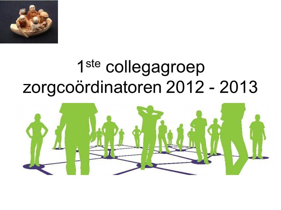 1ste collegagroep zorgcoördinatoren 2012 - 2013