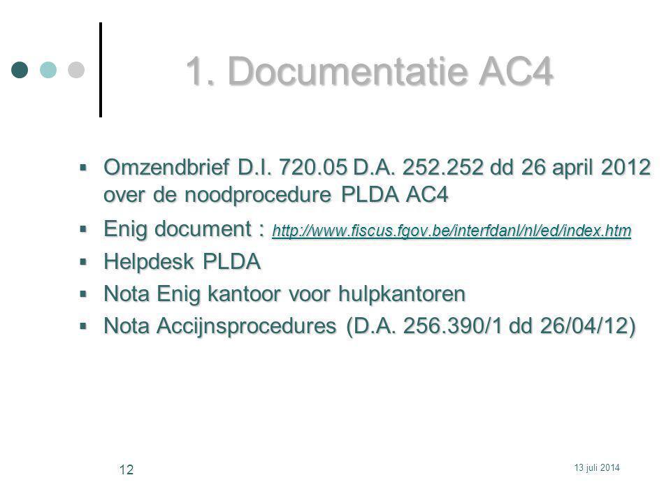 1. Documentatie AC4 Omzendbrief D.I. 720.05 D.A. 252.252 dd 26 april 2012 over de noodprocedure PLDA AC4.