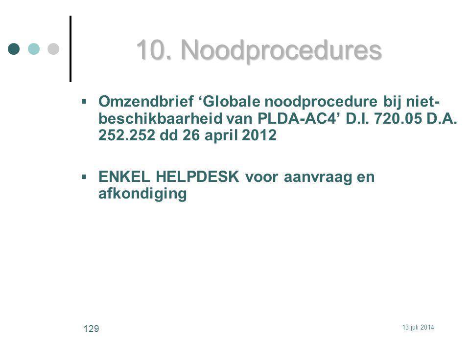 10. Noodprocedures Omzendbrief 'Globale noodprocedure bij niet-beschikbaarheid van PLDA-AC4' D.I. 720.05 D.A. 252.252 dd 26 april 2012.