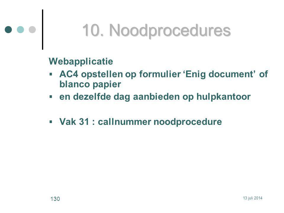 10. Noodprocedures Webapplicatie